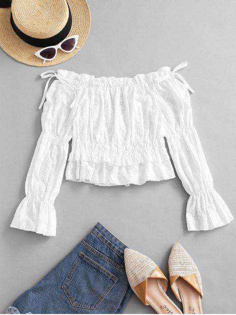 shops Off Shoulder Embroidery Ruffle Poet Sleeve Blouse - WHITE M Mobile