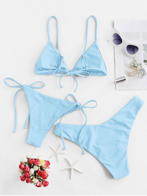 shops ZAFUL Padded Cami Three Pieces Bikini Swimsuit - DAY SKY BLUE S Mobile