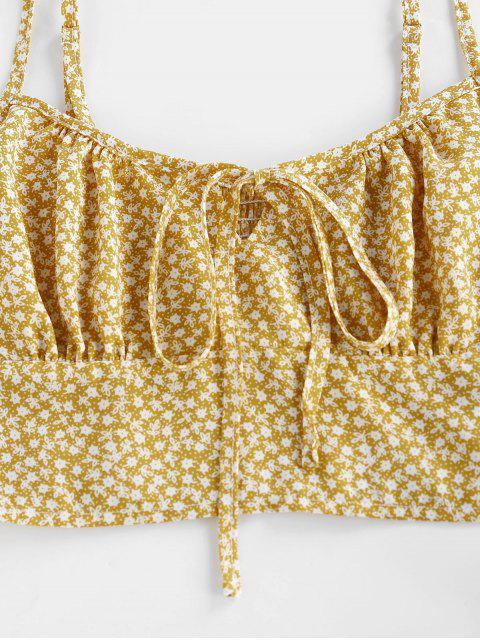 online ZAFUL Tied Ditsy Print Crop Top - ORANGE GOLD L Mobile