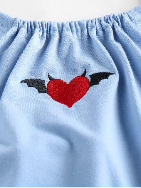 ZAFUL Top Curto com Coração Cortado - Azul do Mar S Mobile