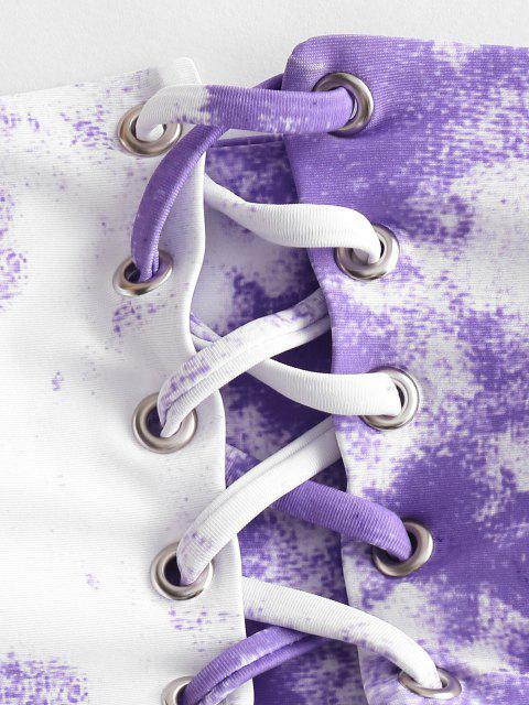 outfit ZAFUL Tie Dye Grommet Lace Up Bandeau Bikini Swimsuit - MAUVE S Mobile