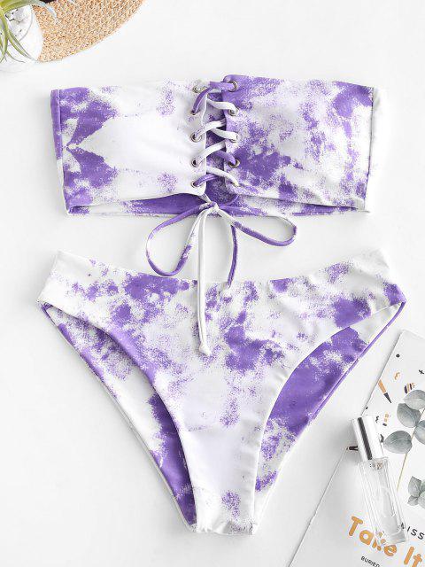 shop ZAFUL Tie Dye Grommet Lace Up Bandeau Bikini Swimsuit - MAUVE L Mobile