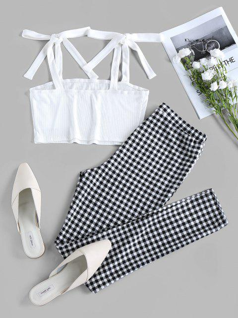 online ZAFUL Tie Shoulder Checked Two Piece Set - MULTI L Mobile