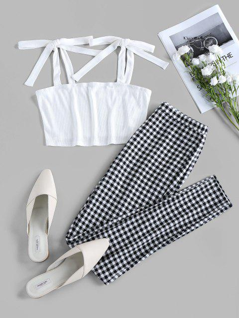 buy ZAFUL Tie Shoulder Checked Two Piece Set - MULTI M Mobile