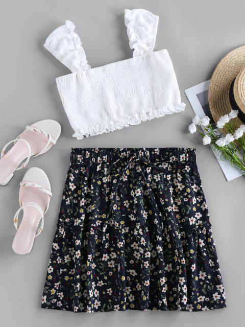 outfit ZAFUL Smocked Floral Print Two Piece Dress - DARK SLATE BLUE L Mobile