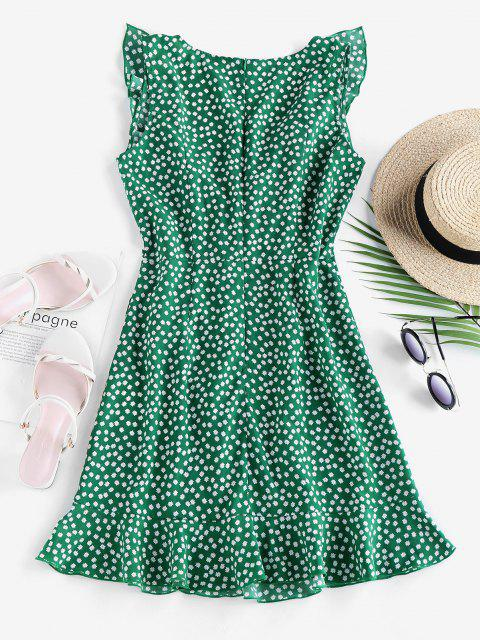 buy ZAFUL Ditsy Print Ruffle Plunging Vacation Dress - SEA TURTLE GREEN S Mobile