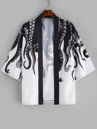 Open Front Octopus Print Beach Kimono Cardigan - Black 2xl