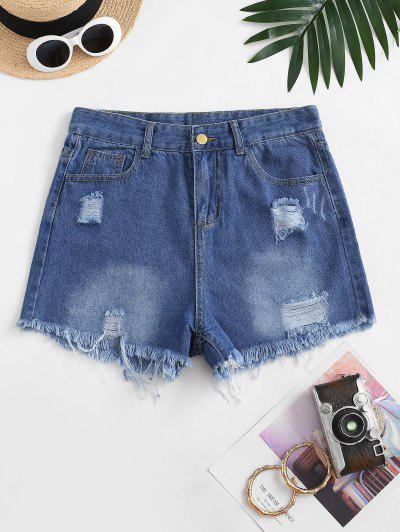 Frayed Hem Ripped Pocket Denim Shorts - Deep Blue M