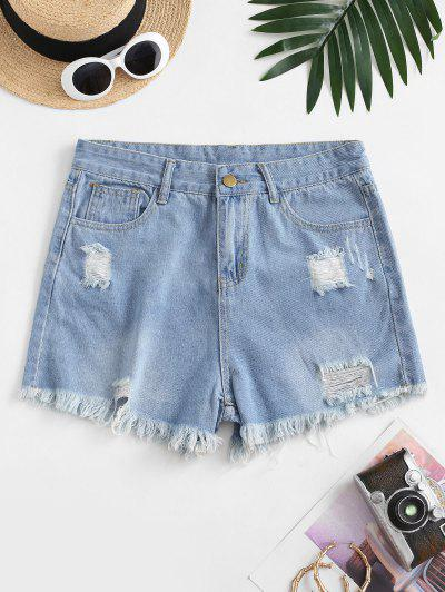 Frayed Hem Ripped Pocket Denim Shorts - Light Blue L