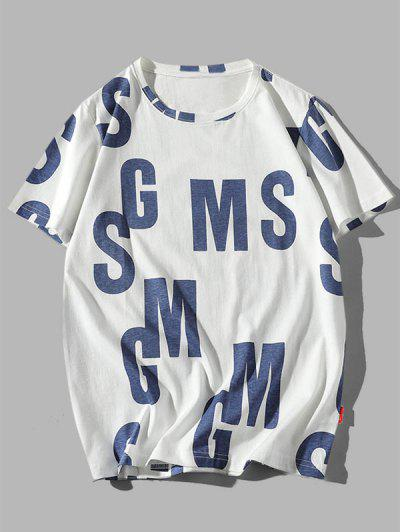 Letter Graphic Print Casual Cotton T-shirt - Cadetblue Xl
