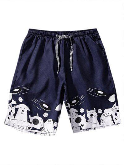 Cartoon Animal Print Drawstring Shorts - Denim Dark Blue M
