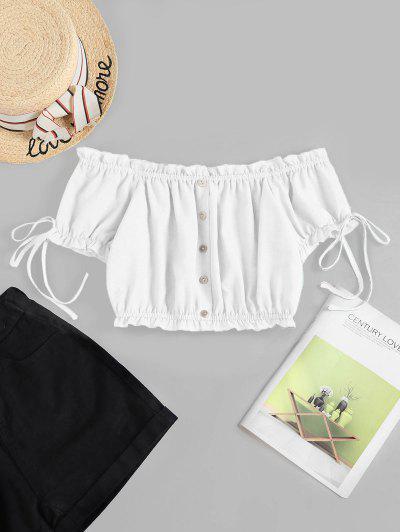 ZAFUL Off Shoulder Ruffle Mock Button Crop Blouse - White Xl