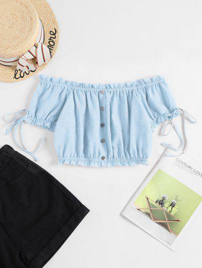 ZAFUL Off Shoulder Ruffle Mock Button Crop Blouse - Light Blue M