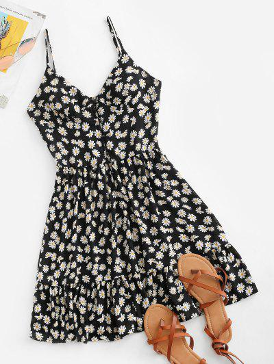 Ditsy Print Flounce Button Placket Sundress - Black S
