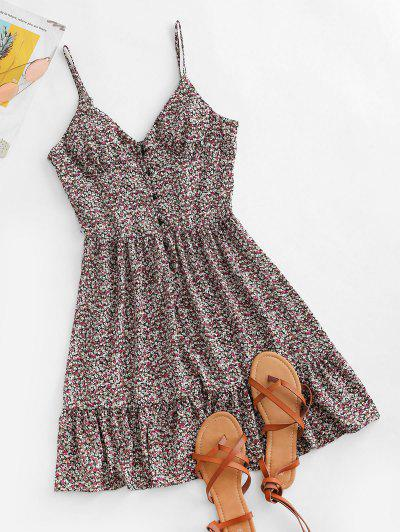 Ditsy Print Flounce Button Placket Sundress - Purple S