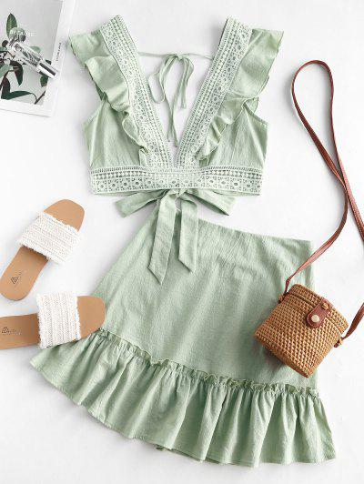 Ruffle Crochet Lace Panel Two Piece Dress - Green S