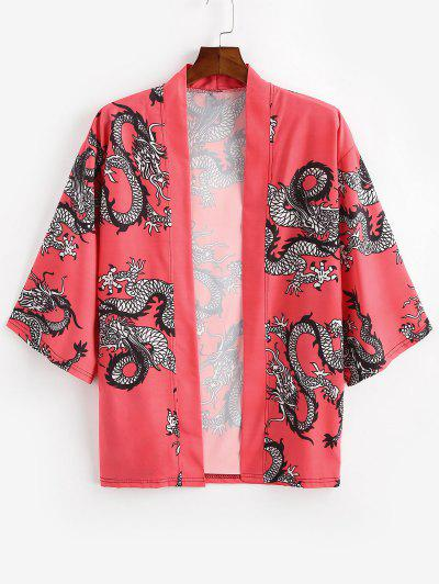 Dragon Oriental Print Open Front Kimono Cardigan - Rosso Red M