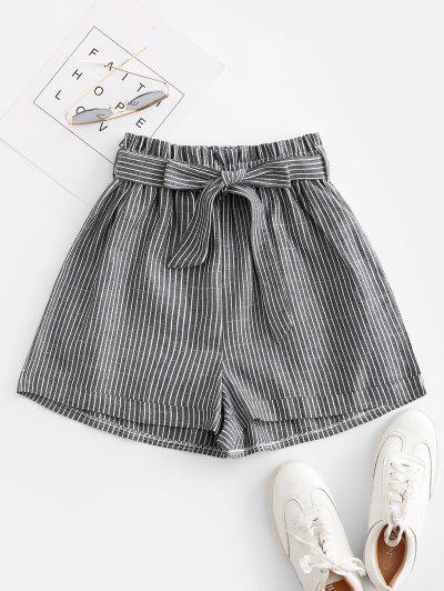 Vertical Striped Cuffed Paperbag Shorts - Gray M