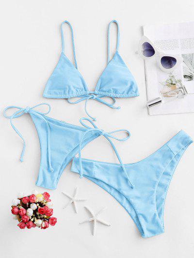 ZAFUL Padded Cami Three Pieces Bikini Swimsuit - Day Sky Blue S