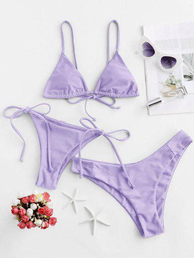 ZAFUL Padded Cami Three Pieces Bikini Swimsuit - Mauve M