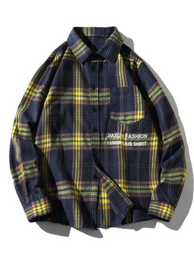 Camisa A Cuadros De Parche Bolsillo Y Botón - Cadetblue Xl