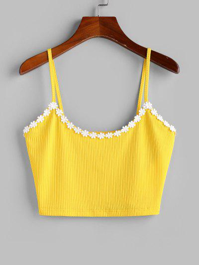 ZAFUL Flower Applique Ribbed Crop Cami Top - Yellow S
