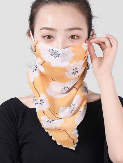 Outdoor Flower Pattern Mask Scarf - Mustard