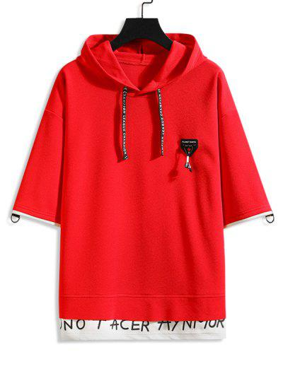Faux Twinset Drop Shoulder Hooded T-shirt - Red M