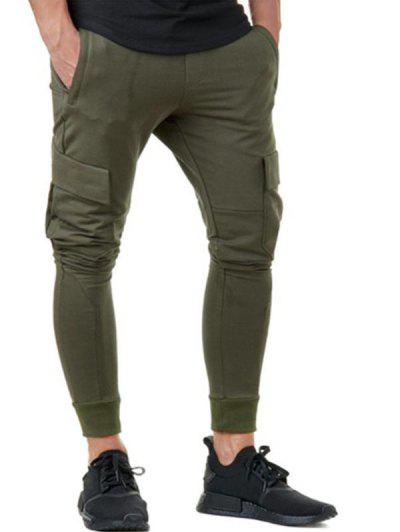 Solid Color Pocket Decorated Casual Pants - Army Green L