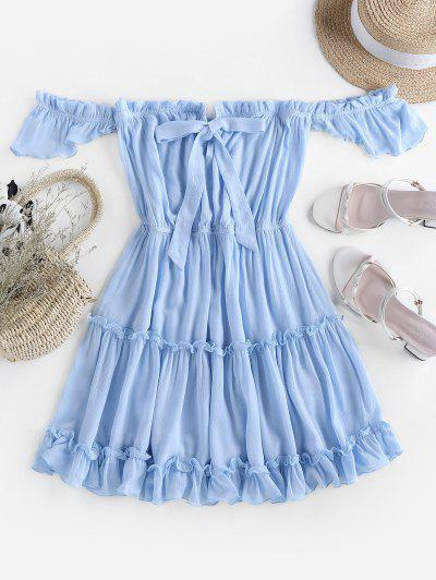 ZAFUL Off Shoulder Bowknot Ruffle Dress - Light Blue S