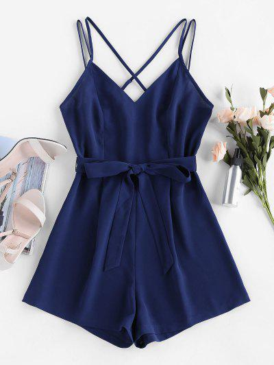 ZAFUL Belted Crisscross Cami Romper - Navy Blue M