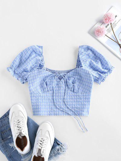 ZAFUL Plaid Seersucker Smocked Crop Bustier Blouse - Day Sky Blue S