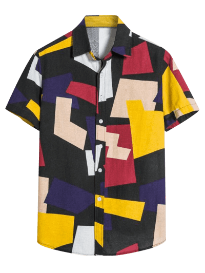Colorblock Geometric Print Button Down Shirt