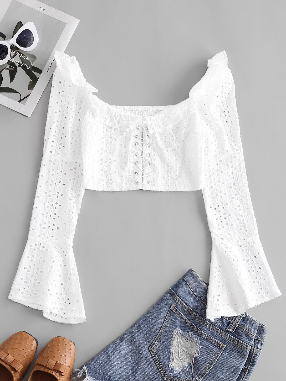 Broderie Anglaise Lace Up Ruffle Milkmaid Crop Blouse
