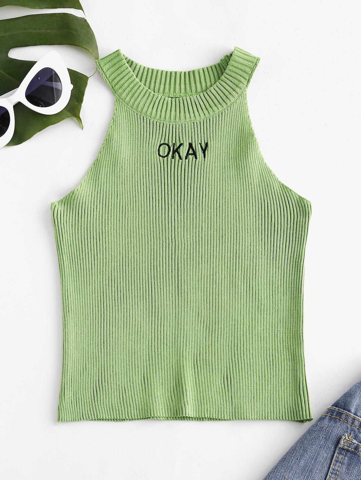 Ribbed Okay Embroidered Knit Slim Tank Top