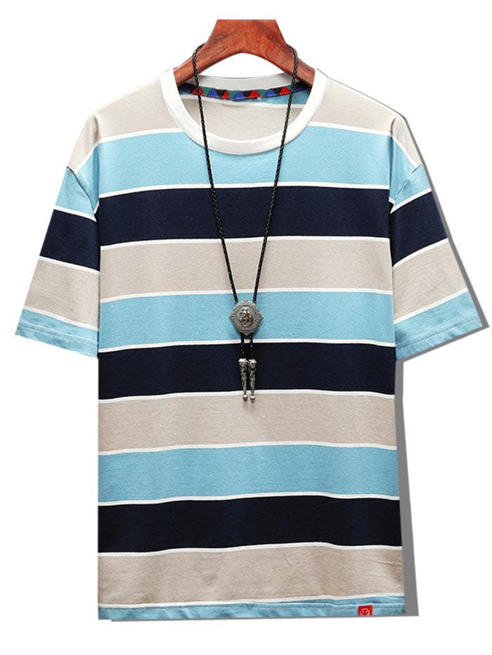 Color Blocking Striped Short Sleeve T-shirt thumbnail