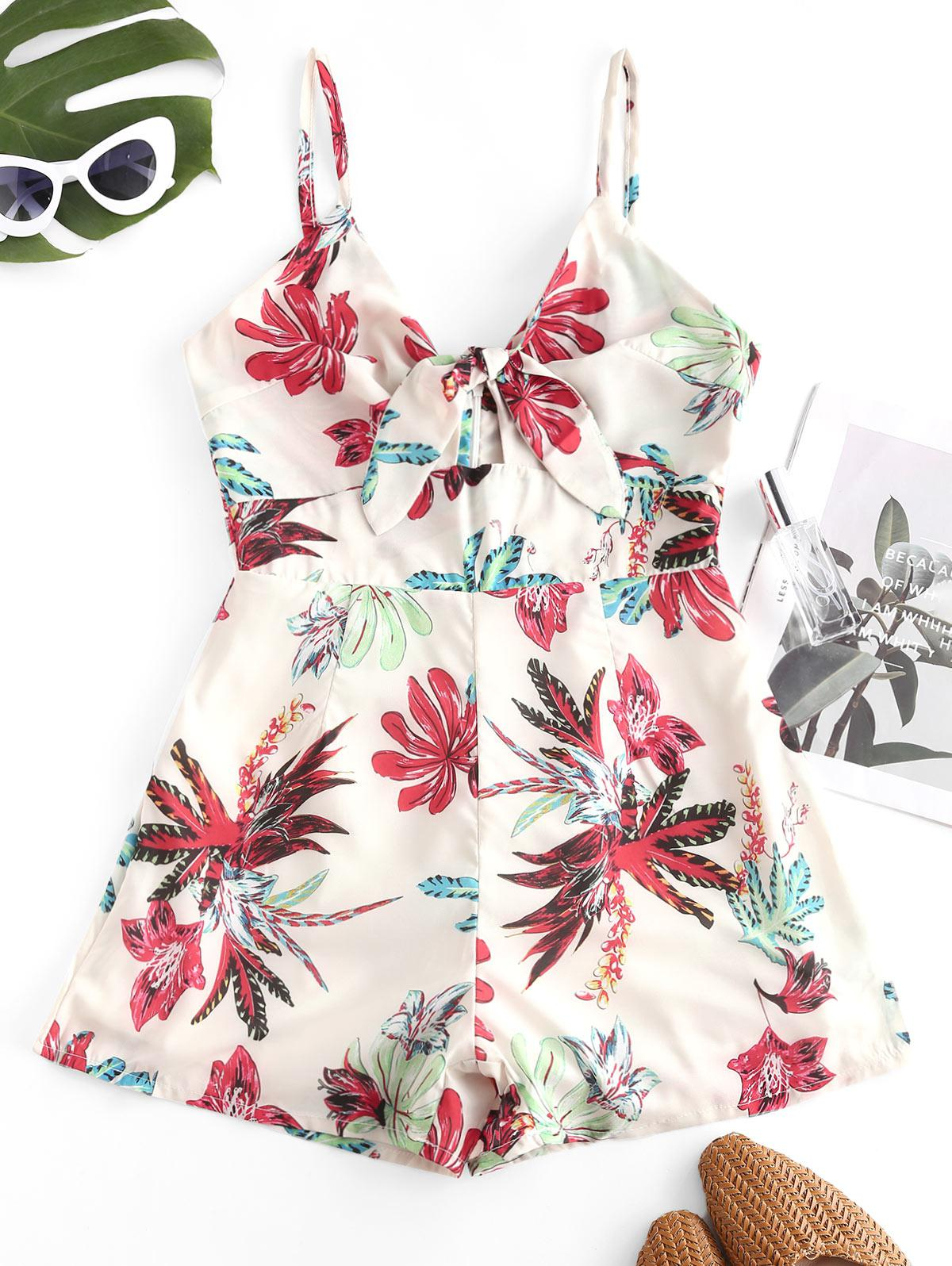 Cut Out Floral Tie Front Cami Romper