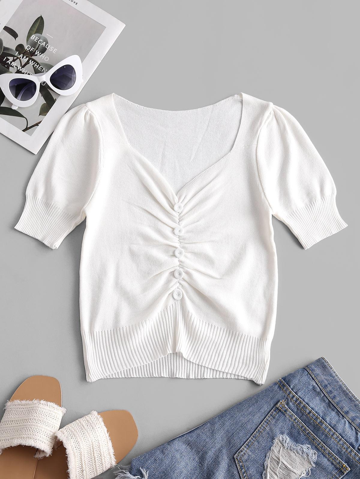 Sweetheart Neck Covered Button Knitted Tee