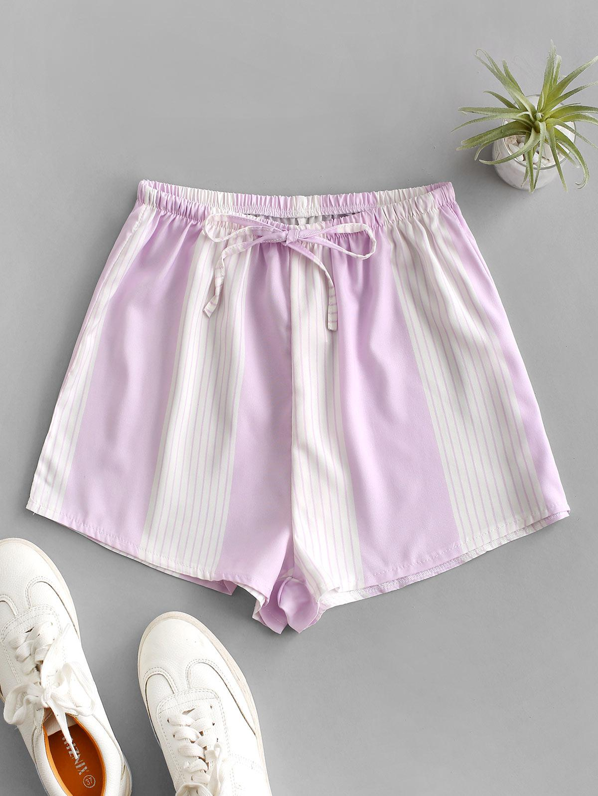 Drawstring High Waisted Stripes Shorts