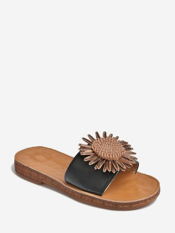 Sunflower Leather Beach Flat Slides