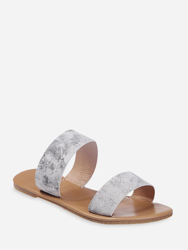 Tie Dye Leather Dual Straps Flat Slides