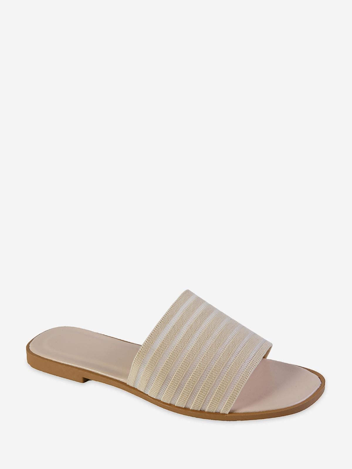 Woven Striped Casual Flat Slides