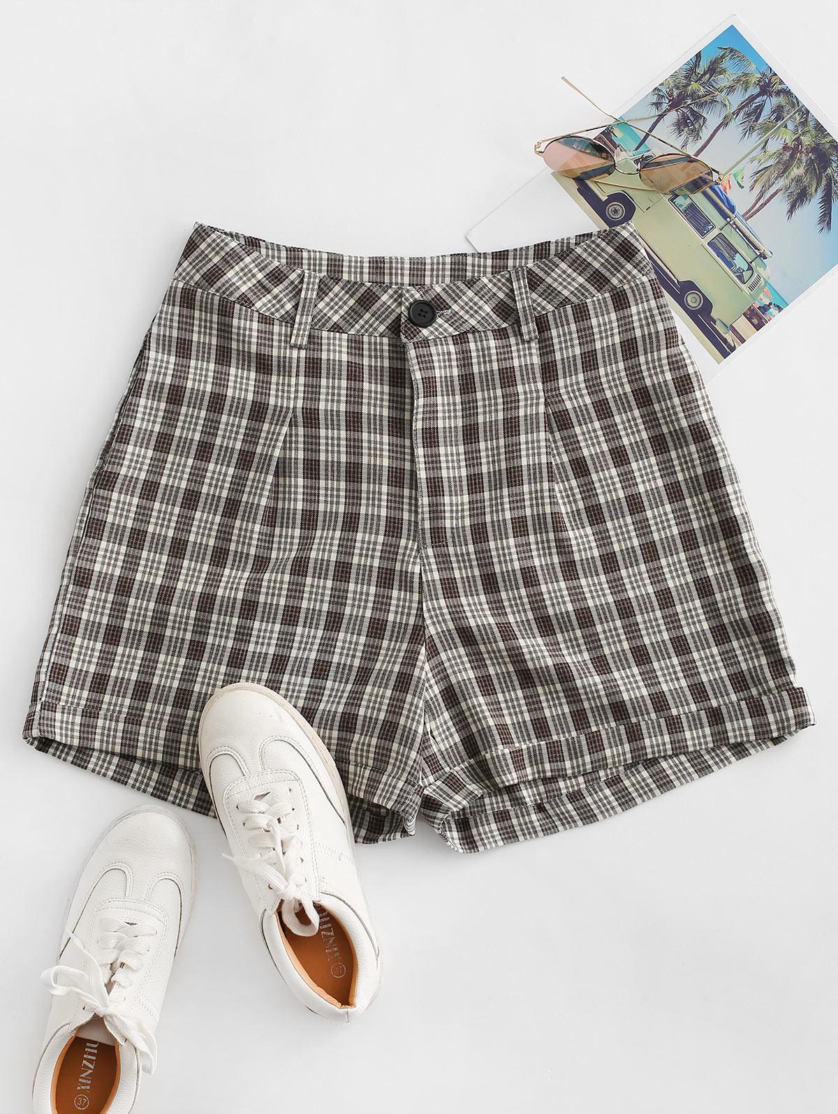 Cuffed Plaid Shorts thumbnail