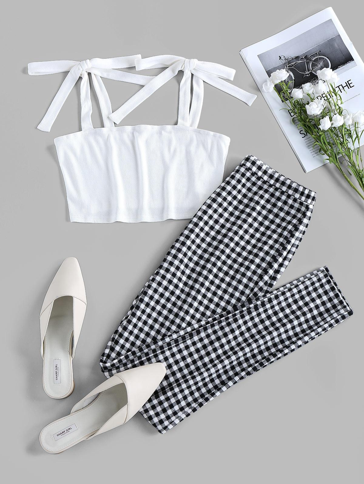 ZAFUL Tie Shoulder Checked Two Piece Set