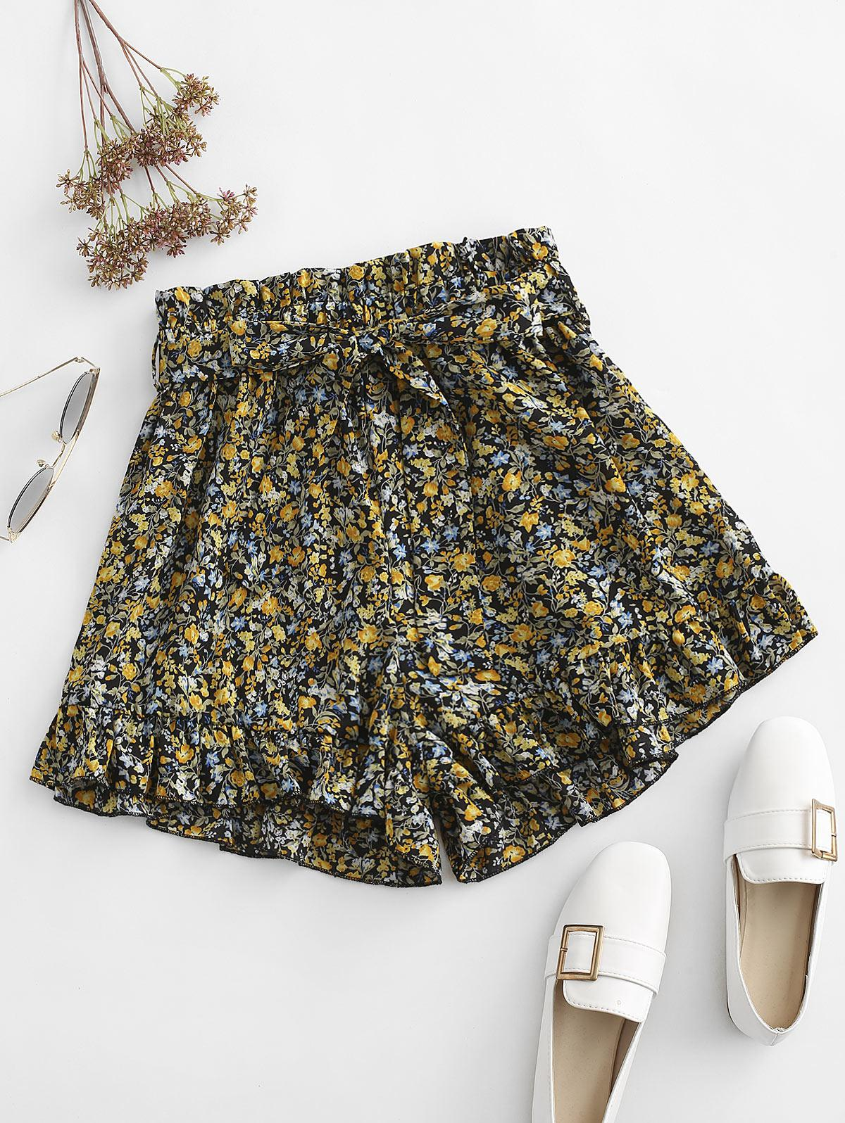 Floral Ruffle Paperbag Shorts