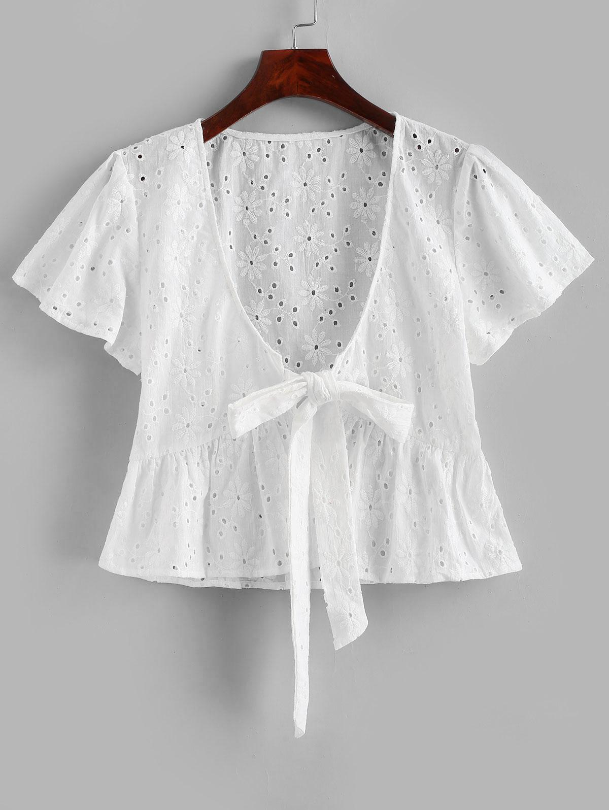 Broderie Anglaise Tie Front Flounce Blouse