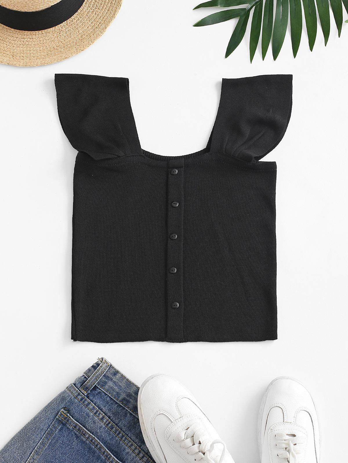 Square Neck Knitted Crop Tank Top