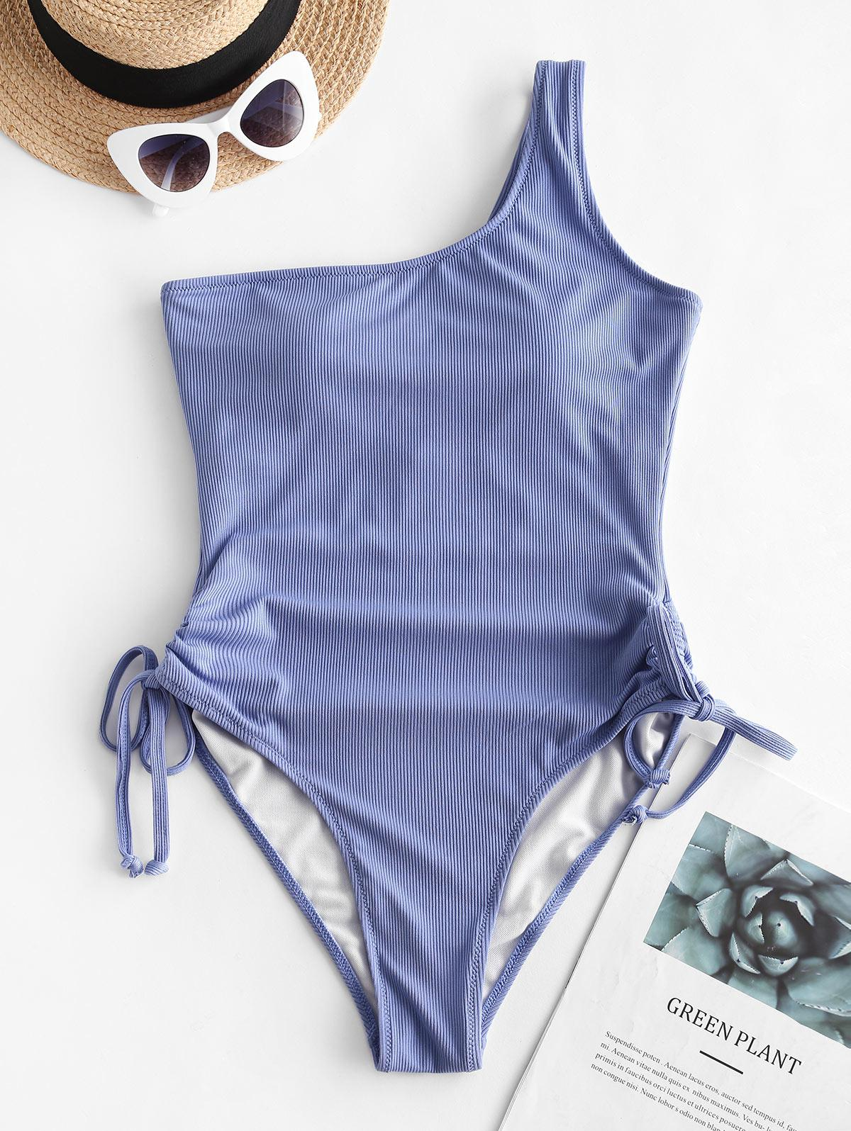 ZAFUL Ribbed One Shoulder Cinched One-piece Swimsuit thumbnail