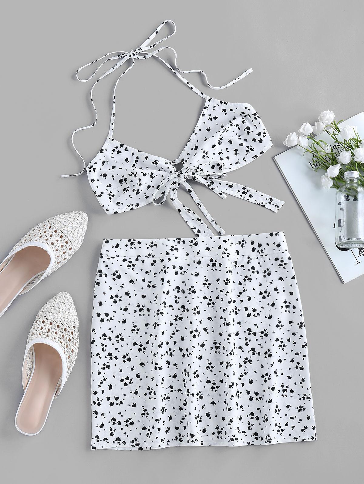 ZAFUL Dalmatian Print Halter Tie Two Piece Dress Set