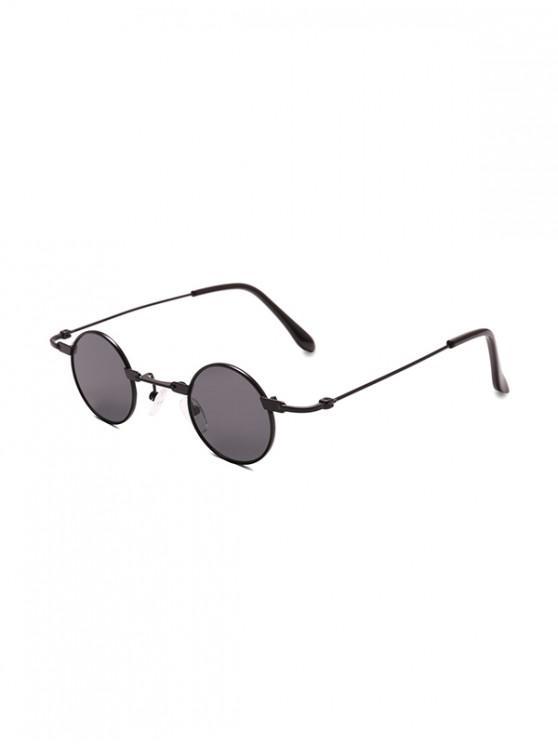 lady Small Metal Round Sunglasses - BLACK